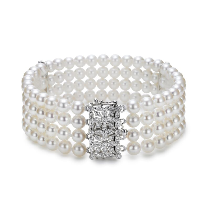4 Strand Pearl with Diamond Clasp