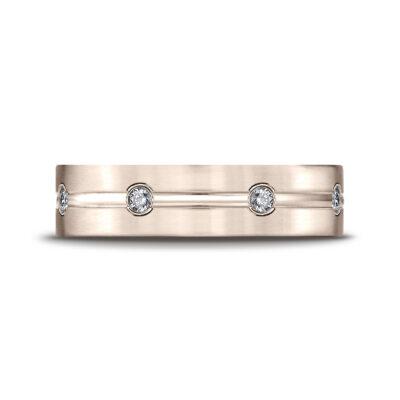 Comfort-Fit Carved Design Bezel Set Diamond Gent's Wedding Band 798/CF526128