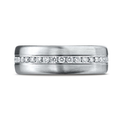 Comfort-Fit Satin-Finished Channel Set Diamond Gent's Wedding Band