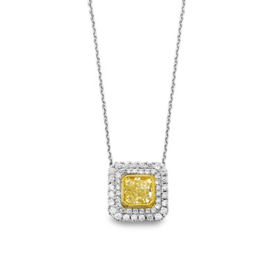 double halo fancy yellow diamond pendant