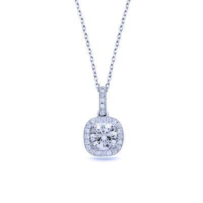 cushion halo diamond pendant